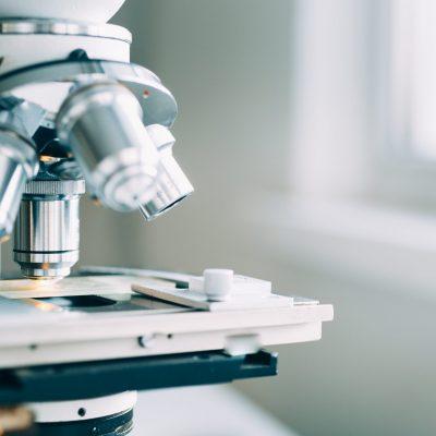 Microscope in the Laboratory, modern close-up shot
